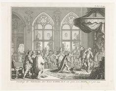 Simon Fokke | Troonsafstand van Karel V, 1555, Simon Fokke, 1747 - 1759 | Troonsafstand van Karel V op 25 oktober 1555 waarin hij de regering van de Nederlanden overdraagt aan zijn zoon Filips. Troonzaal met de keizer staande voor de troon, met een arm steunend op de schouder van jonge Willem van Oranje, voor hen staat Filips.