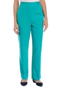 Alfred Dunner Women's Montego Bay Jade Proportion Pant - Jade - 16 Short