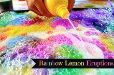 Science experiments for kids: rainbow lemon eruptions  #scienceexperiments #homeschool