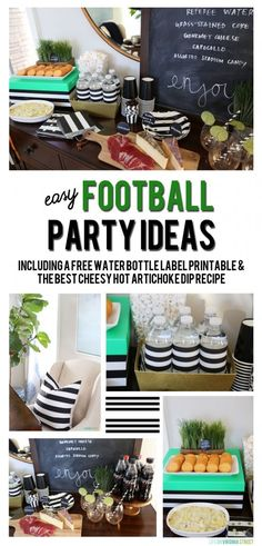 Easy Football Party Ideas - Including the BEST Cheesy Hot Artichoke Dip Recipe and a Free Printable for Black and White Striped Water Bottle Labels! #ScoreMoreFans #ad #CollectiveBias