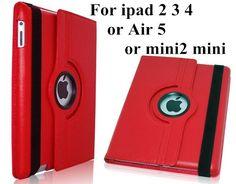 Cases For Apple iPad2 ipad 3 ipad 4 tablet case Flip Stand pu Leather 360 Rotating  Cover For ipad mini mini2 mini 3 case+Film