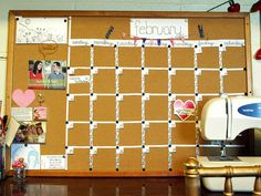 DIY bulletin board calendar. . .recreate and paint or cover with fabric to add a fashion to functionality.
