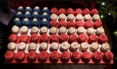 Red, white & blue US flag cupcakes. Teacher Appreciation Centerpieces, Mini Cupcakes, Cupcake Cakes, Military Cake, Us Flags, Tasty, Yummy Food, Retirement Parties, American Flag