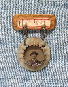 Antique Tintype Medal Assemblage Art Pin / by SalvageArtSweetheart