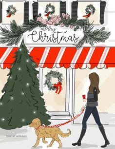 Merry Christmas In the Village Holiday by RoseHillDesignStudio