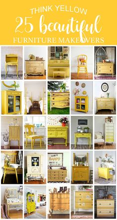 Think Yellow 25 Beautiful Furniture Makeovers Salvaged Inspirations Yellow Bedroom Furniture, Yellow Painted Furniture, Painting Kids Furniture, Bedroom Furniture Makeover, Chalk Paint Furniture, Colorful Furniture, Furniture Layout, Kitchen Furniture, Yellow Kids Furniture