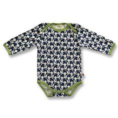 Baby Body mit kleinen Elefanten in marine Blau aus reiner Bio-Baumwolle (KbA) der deutschen Babymode Marke Loud and Proud. Durch die langen Ärmelchen auch für etwas kältere Tage geeignet.