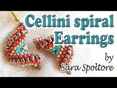 Tutorial Cellini spiral alternating zig zag - How to make earrings with beads - Peyote stitch - YouTube