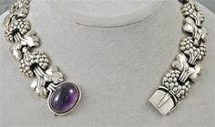 Georg Jensen Art Nouveau sterling and amethyst necklace/ Pre 1950 /7500
