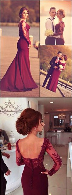 2017 prom dresses,prom dresses,maroon prom dresses,mermaid prom dresses,lace prom dresses,party dresses,burgundy party dress,burgundy evening gowns with long sleeves,fashion,women fashion,chic stylish fashion