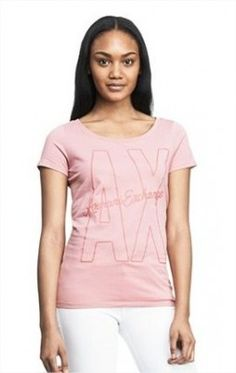 Camiseta Armani Exchange Women's Exploded Log AX Tee Rose Shade E5X299 #Camiseta #Armani Exchange
