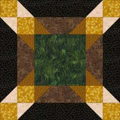 "Free Quilt Block Patterns, M through S: Picnic Time Quilt Block Pattern - 14"""