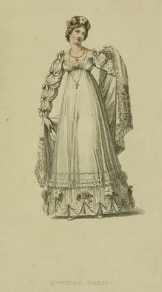 EKDuncan - My Fanciful Muse: Regency Era Fashions - Ackermann's Repository 1817 Vintage Gowns, Vintage Ladies, Vintage Outfits, Victorian Dresses, Vintage Hats, Regency Dress, Regency Era, Historical Costume, Historical Clothing