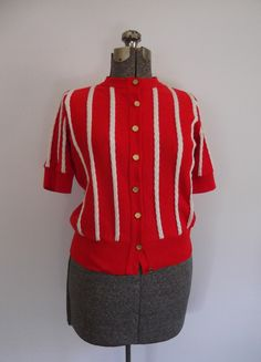 Vintage 1970s Sweater Short  Sleeves Red/White Stripes Gold Button Front