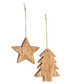 Check this out! Wooden Christmas ornaments in the shape of a star and a Christmas tree with glittery fabric cord. Size approx. 3 1/4 in. - Visit hm.com to see more.