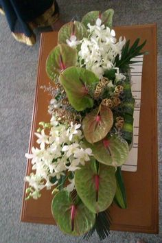 with light green anthurium and green mums - Oasis Floralife Tropical Flower Arrangements, Church Flower Arrangements, Orchid Arrangements, Church Flowers, Beautiful Flower Arrangements, Funeral Flowers, Tropical Flowers, Beautiful Flowers, Spring Flowers