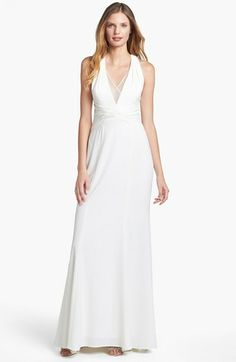 Adrianna Papell Mesh Inset Stretch Crepe Gown available at #Nordstrom