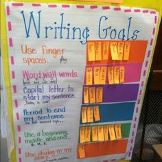 Writing Goals idea for the classroom - Sticky notes attached to Goals. This is an easy way for students to track their progress with Writing Goals. Writing Lessons, Writing Resources, Writing Activities, Writing Ideas, Grammar Lessons, Writing Process, Kindergarten Writing, Teaching Writing, Teaching Ideas