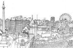 Abigail Daker's Line drawing of Trafalgar Square