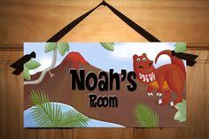 Boys Bedroom Dinosaur DOOR SIGN in Neutral Colours. $14.00, via Etsy.