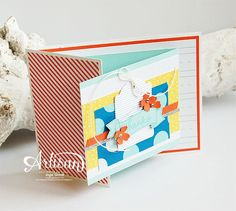 Joyfold card, Endless Thanks, Schoolhouse DSP, Kraft and White Corrugated Paper, Note Tag Punch, Itty Bitty Accents Punch Pack -Inge Groot-