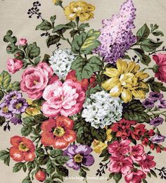 Vintage Home - Gorgeous 1940s Roses and Lilacs Curtains.