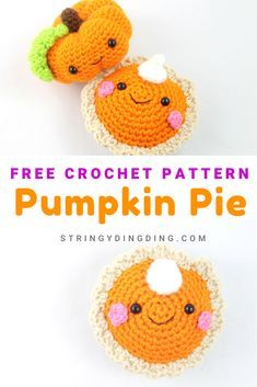 Crochet this quick and cute pumpkin pie with my free crochet pattern! Quick Crochet, Crochet Fall, Free Crochet, Crochet Toys, Crochet Animals, Knitted Dolls, Crochet Pumpkin Pattern, Halloween Crochet Patterns, Crochet Octopus