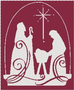 Nativity scene silhouette cross-stitch pattern