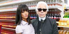 "Karl Lagerfield and Rhianna, Chanel ""Shop"", Paris Fashion Week 2014"
