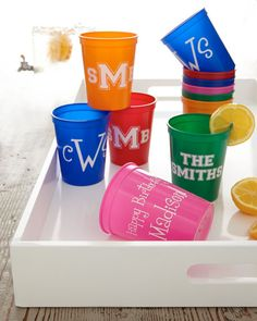 I need these! Great idea for graduation gifts :) party favors, christmas time, wedding favors, cups, person cup, monogram gifts, graduation gifts, stadium cup, graduation parties