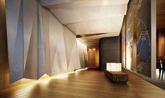 OKURA PRESTIGE Lobby Interior, Interior Walls, Decor Interior Design, Interior Architecture, Commercial Design, Commercial Interiors, Feature Wall Design, Lobby Design, Hotel Interiors