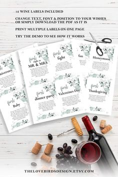 Set of 12 Marriage Milestone Wine Labels Firsts Poems Wedding | Etsy Wine Bottle Gift, Wine Bottle Labels, Wine Gifts, Wedding Tags, Wedding Gifts, Free Wedding Templates, Wedding Gift Baskets, Wine Baskets, Bride And Groom Gifts