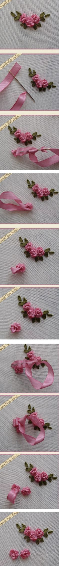 *RIBBON ART ~ Sweet ribbonwork Rosebud clusters.