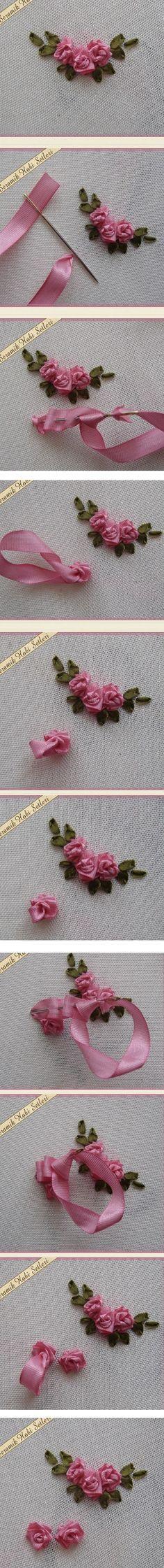 *RIBBON ART ~ Sweet ribbonwork Rosebud clusters.
