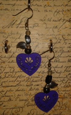handmade purple heart earrings