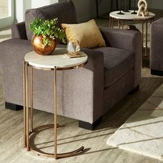 Shop Celsus Champagne Gold Finish Table or Nesting Table Set with Faux Marble Top and Mirrored Bottom by iNSPIRE Q Bold - On Sale - Overstock - 27883711 Deco Furniture, Home Decor Furniture, Home Decor Items, Living Room Furniture, Furniture Design, Side Table Decor, Table Decor Living Room, Sofa Side Table, Bedroom False Ceiling Design