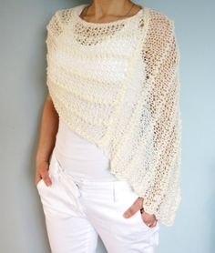 Knitting Pattern - Thick and Thin Poncho, See-through Chunky Lace Shoulders Coverup/Loose Knit Capelet/Bridal Wrap