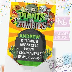 PVZ Plants V Zombies Party Invitations BOY party by Thingamaparty