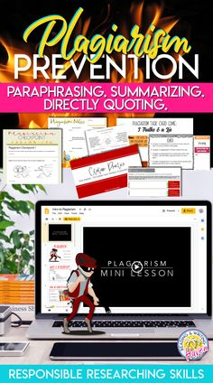 Teach students to avoid plagiarism! This is an imperative skill in an ever-evolving digital world. This engaging writing unit is designed to be a brief introduction to or refresher about plagiarism. Use it with any writing unit or to help establish expectations for academic integrity when working with a new group of students. Includes a brief overview of summarizing, paraphrasing, and directly quoting research in MLA style.  #Plagiarism #MiddleSchoolELA #HighSchoolELA #EngagingELA