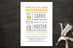 """Posted"" - Modern, Bold typographic Wedding Invitations in Sea by Kristie Kern."