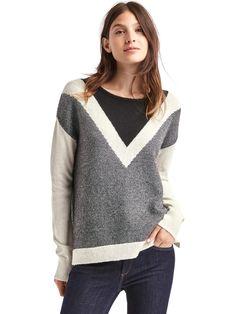 Merino wool blend colorblock V-stripe sweater