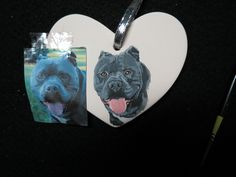 Pet Portrait or Memorial Ceramic Ornament Hand Painted and Made to Order Any Animal from Photo Pit Bull by Shannon Ivins Handmade Gifts For Him, Memorial Ornaments, Hand Painted Ornaments, Heart Ornament, Pet Memorials, Hand Painted Ceramics, Love Painting, Ceramic Painting, Pit Bull