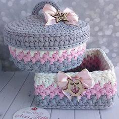 Diy Crochet Basket, Crochet Box, Crochet Basket Pattern, Crotchet Patterns, Crochet Stitches Patterns, Crochet Round, Crochet Gifts, Crochet Designs, Knit Crochet