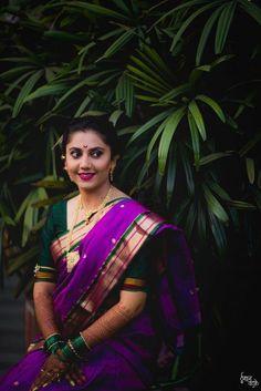 Most Beautiful Nauvari Sarees On Maharashtrian Brides! - Most Beautiful Nauvari Sarees On Maharashtrian Brides! White Saree, Green Saree, Pink Saree, Bridal Looks, Bridal Style, Royal Blue Saree, Marathi Bride, Marathi Saree, Engagement Saree