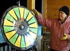 The proceedings began with Menominee Tribal Council member and Menominee Cultural Museum staffer,  Becky Alegria, spinning the wheel to determine the winner of one of many prizes. Buy this Prize Wheel at http://PrizeWheel.com/products/tabletop-prize-wheels/tabletop-black-clicker-prize-wheel-18-slot/.