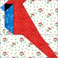 ALL STITCHES - CARDINAL PAPER PIECING QUILT BLOCK PATTERN .PDF -030A