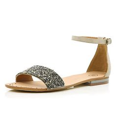 Beige embellished ankle strap sandals - sandals - shoes / boots - women