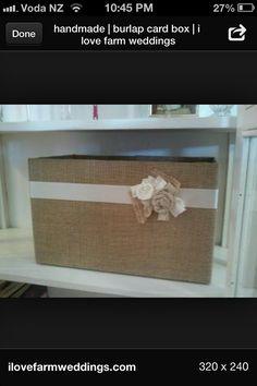 Burlap box for wedding cards