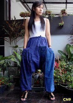 CN9 -Unisex Ohm Patchwork Harem Baggy Pants,Drop Crotch Trousers,100% Cotton. #TribalFashion #DropCrotchCasual