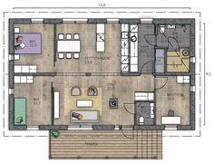 LATO 108 A - Kannustalo Japanese Modern, Modern Architects, Sauna, Small House Plans, Interior Architecture, Architecture Models, Interior Inspiration, Modern Design, Floor Plans